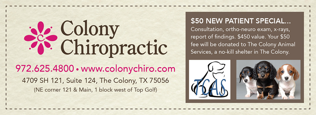 chiropractic coupon, chiropractor coupon, new patient special, the colony tx